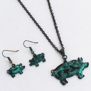Patina Pig Necklace & Earring Set